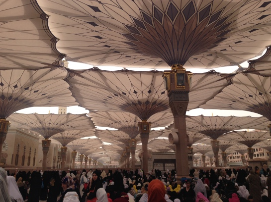 Friday prayer - fans spray cool mist